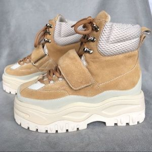 Jeffrey Campbell Fonzie Suede Chunky Boots Tan
